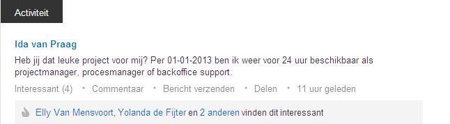 LinkedIn activiteit 2012