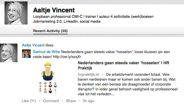 LinkedIn recente activiteiten
